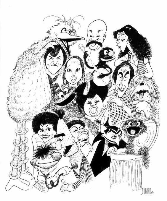 'cast of sesame street' by al hirschfeld
