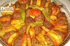 ✿ ❤ Fırında Köfte - Nefis Yemek Tarifleri (aynı şekilde hazırlanmış bu yemeği yayvan bir tencerede (karnıyarık tenceresi mesela) ocak üstünde de pişirebilirsiniz)