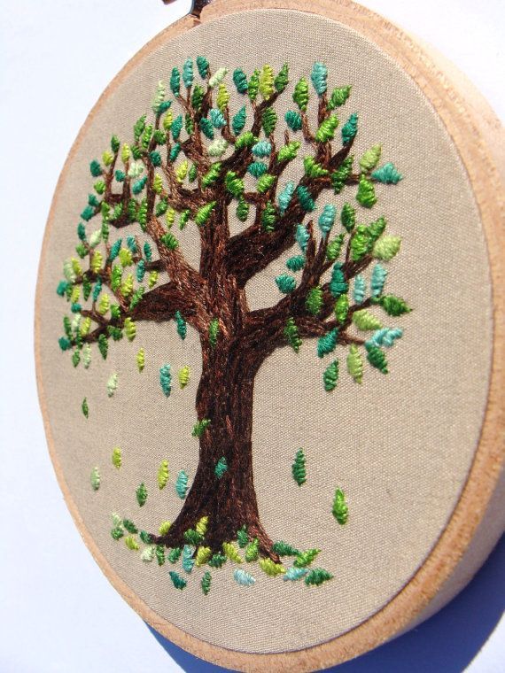 Hand embroidered falling leaves wall hanging inch hoop