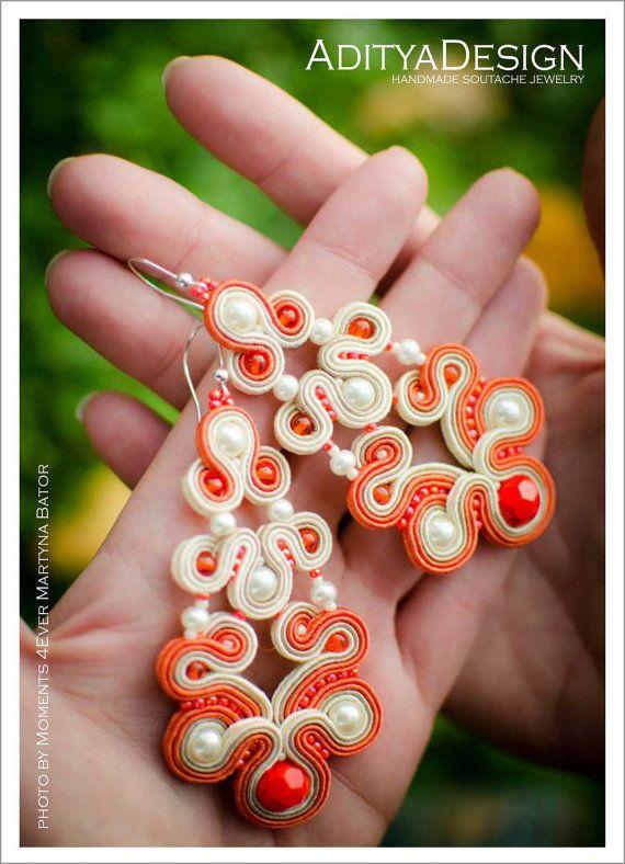 Soutache Earrings Orange Beige Handmade Jewelry by AdityaDesign