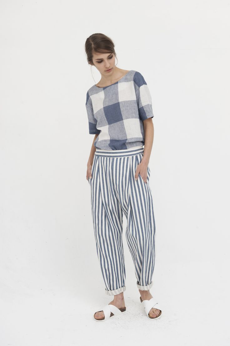 Chaplin Pants, Blue Linen Stripe