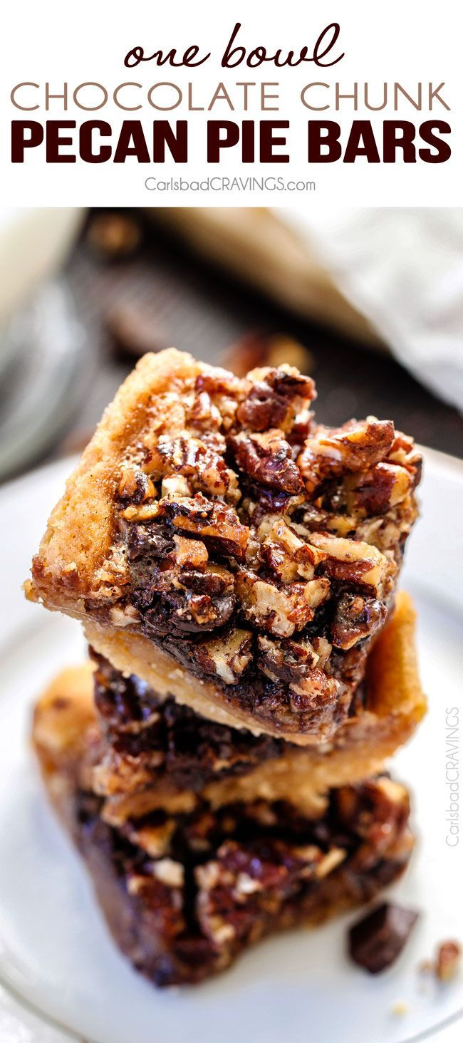 Easy ONE BOWL Chocolate Chunk Pecan Pie Bars with a SUGAR COOKIE CRUST! these bars are AMAZING! Way better with chocolate chunks and the Sugar Cookie Crust is so soft and chewy.