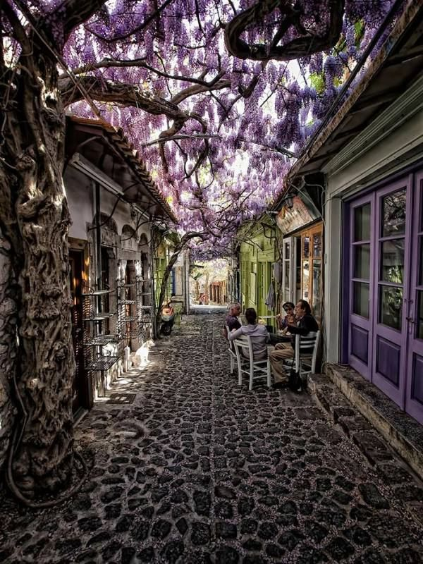 World's Most Magical Streets Shaded Travel Urban. Molyvos, Lesvos, Greece. This totally a storybook setting.