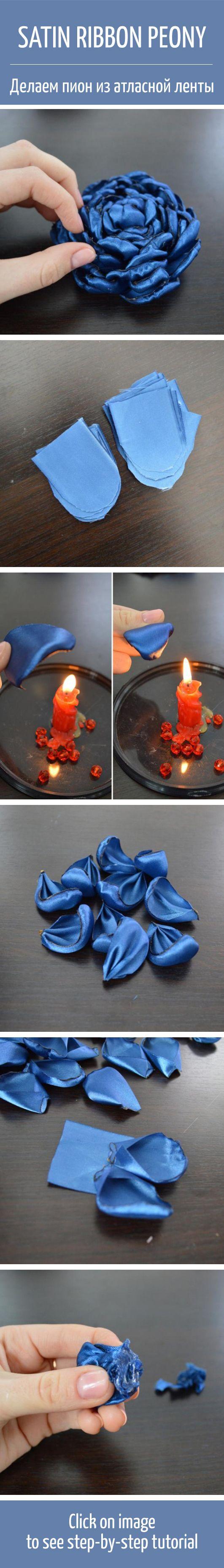 Satin ribbon peony flower tutorial / Как из атласной ленты сделать цветок пиона