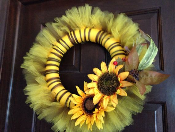 Sunflower Fall Tulle Wreath by VeryOwnCreations on Etsy