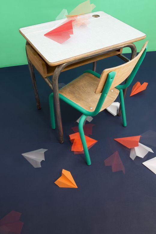 Z comme Zéro, set design, l'école dans la jungle, mobilier pour enfants vintage et coloré, par Les Trafiquantes
