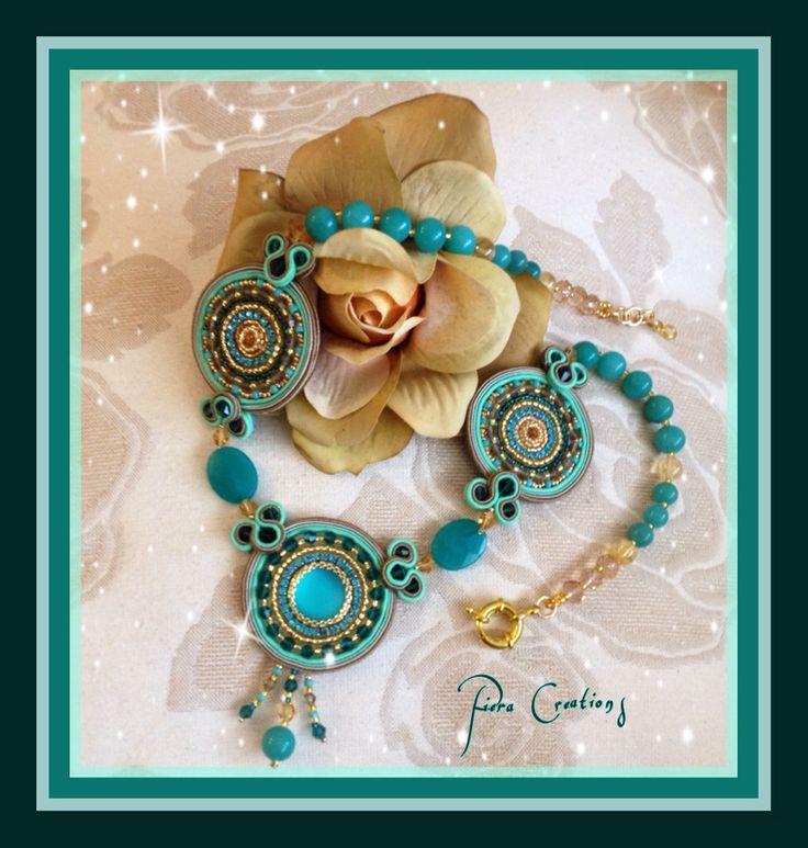 Collana Calipso soutache e bead embroidery con giada, cristalli Swarovski, cristalli di rocca.