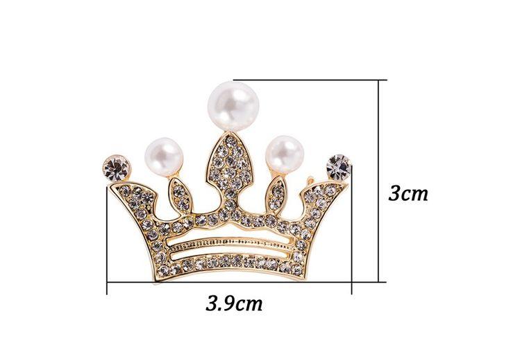 Crown Imitação de Pérolas Broche Pin Novo 2016 das Mulheres da Moda 18 K Amarelo banhado a Ouro Cheias CZ Presente de Cristal Austríaco jóias em Broches de Jóias & Acessórios no AliExpress.com | Alibaba Group