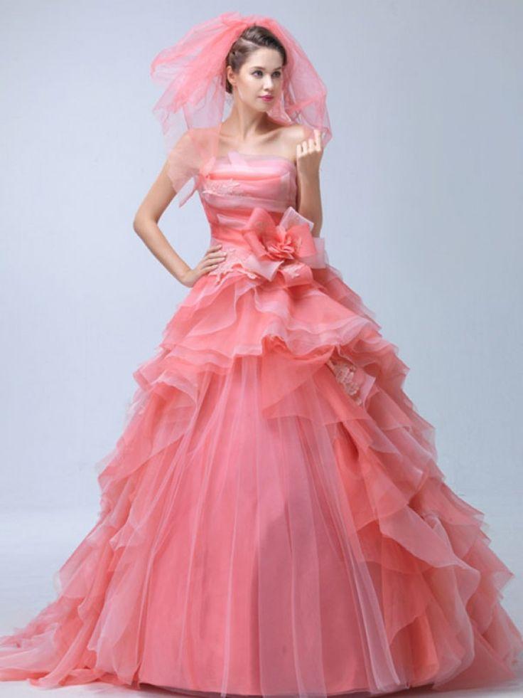 Dathybridal #ウェディングドレス ボールガウン ベアトップ ファスナー ノースリーブ フリル #オーガンジー レッド スウィープ 結婚式 二次会ドレス Hlb0025