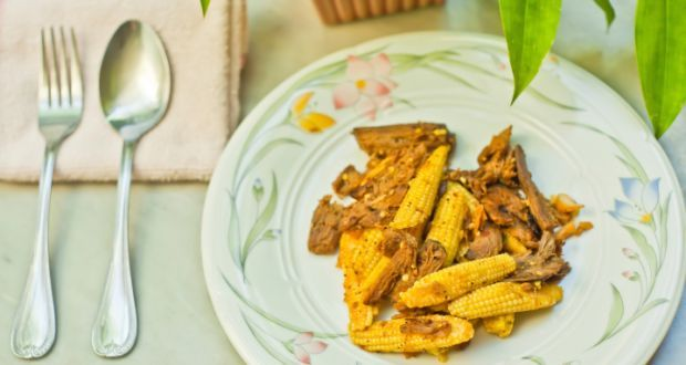 Stir Fry Baby Corn Recipe - A simple recipe of stir fried baby corn with ginger and garlic.