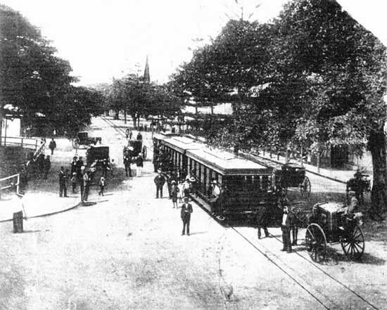 Steam tram on the Corso,Manly in the Northern Beaches region of Sydney (year unknown).