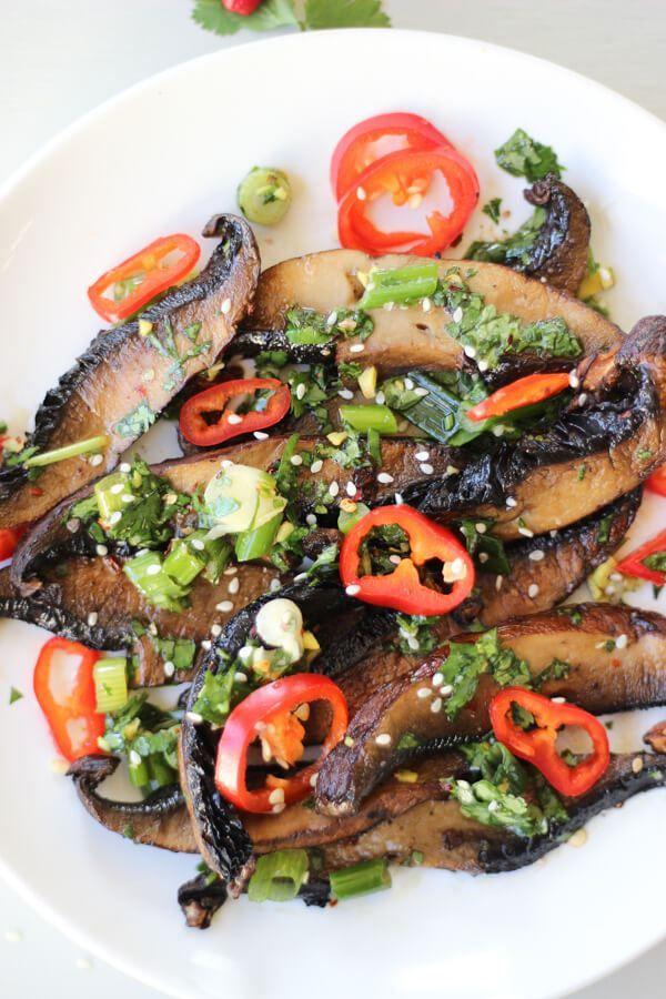 Spicy Asian Portobello Mushrooms - Wicked Spatula