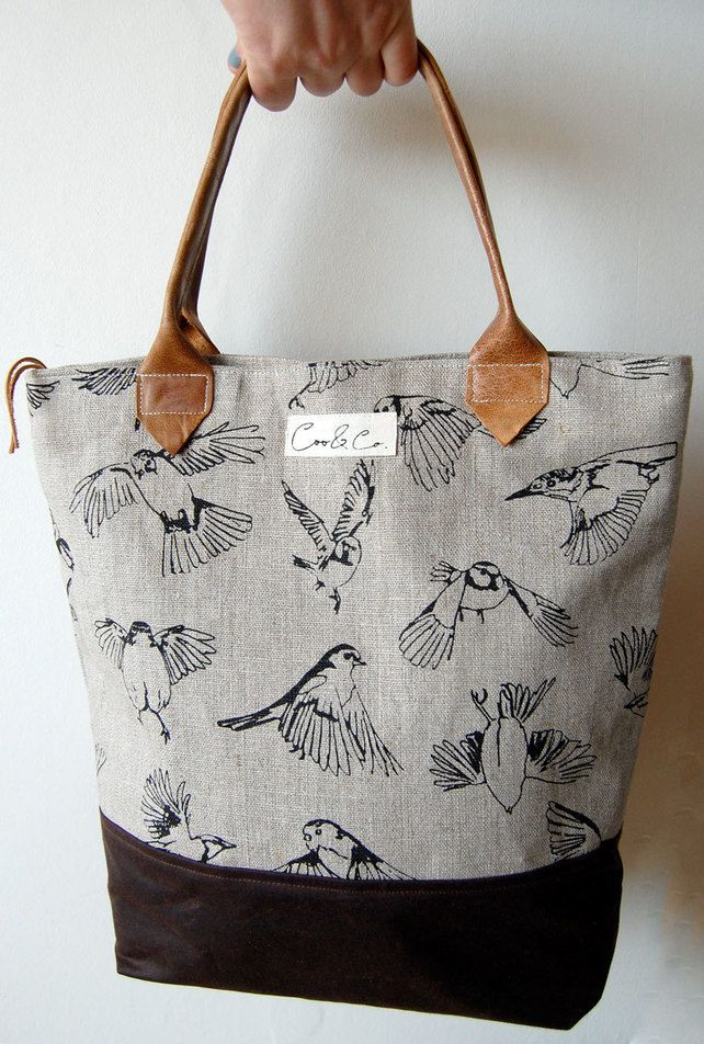 Linen Day bag screen-printed with flying Britis... - Folksy
