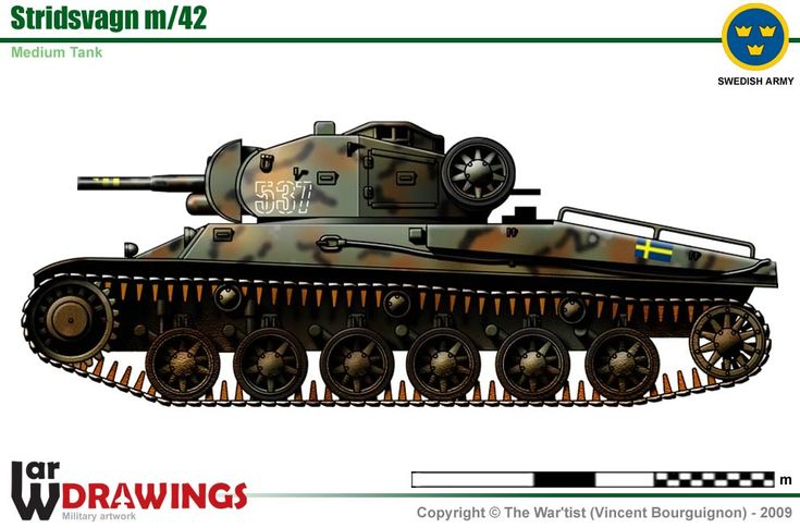Stridsvagn m/42 (Strv m/42) was Swedish medium tank in service in the World War II period. Known by its manufacturer AB Landsverk as Lago II-III-IV, it fielded a 75 mm L/34 gun, the first of its size in a Swedish tank. It entered service with the Swedish army in November 1941. Modern in design it was also well protected and mobile. A total of 282 were produced.