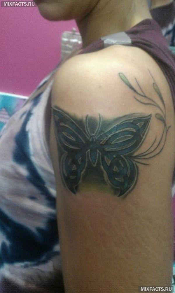 тату на плече в виде бабочки