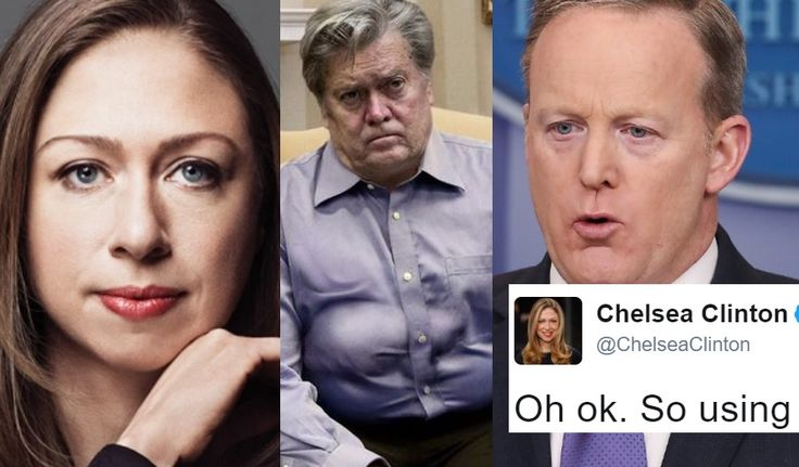 "Steve Bannon Just Called Sean Spicer ""Fat."" Chelsea Clinton's Response Is Great -"