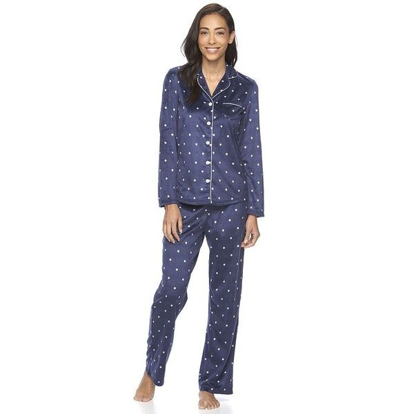 Women's Croft & Barrow® Pajamas: Minky Fleece PJ Set ($20) ❤ liked on Polyvore featuring intimates, sleepwear, pajamas, blue, petite, long sleeve sleepwear, fleece pyjamas, petite sleepwear, long sleeve pajamas and blue pajamas