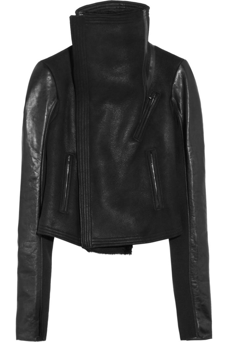 Rick Owens|Shearling leather biker jacket|NET-A-PORTER.COM
