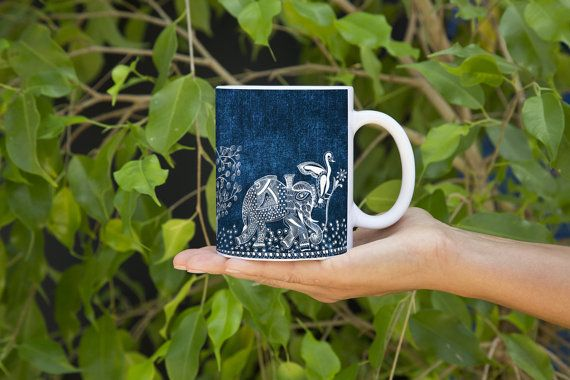 A Day of a Kingly Elephant in His Royal Palace (Blue) - Mggk Signature Ink Art Mug #designer #art #coffee #inkart #indianart #pendesigns #handdesigned #zentangle #abstract #mugs #designer #unique #royalart #elephant #blue #white #mandana