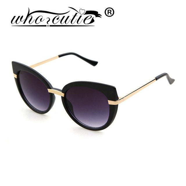 591ba658e7 WHO CUTIE Sunglasses Metal Glasses Famous Women Brand Designer ...