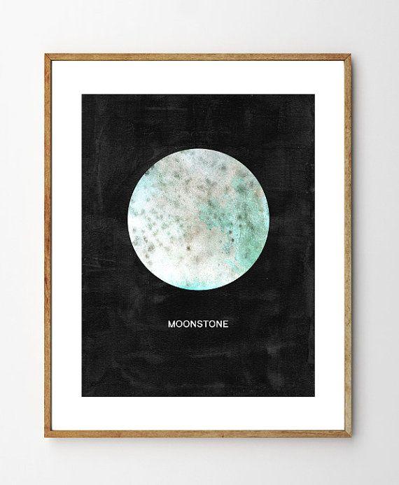 June Birthstone- Moonstone - Birthstone Art, Birthstone June, Gemstone Art, Nursery Art, Rocks and Minerals, June Birthstone, Nature, Gems