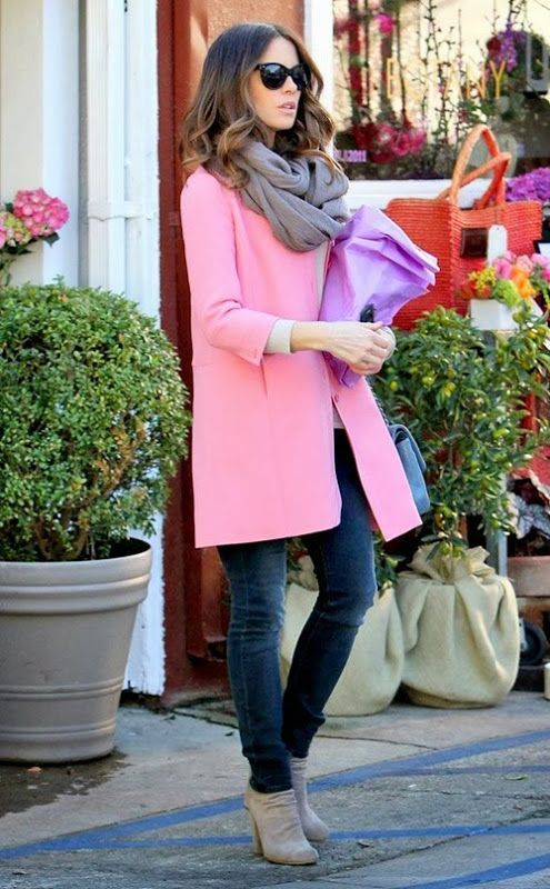 Pairing a pink coat with navy slim jeans is a comfortable option for running errands in the city. Finish off your look with grey suede ankle boots.  Shop this look for $121:  http://lookastic.com/women/looks/ankle-boots-skinny-jeans-scarf-sunglasses-crew-neck-sweater-coat-crossbody-bag/4358  — Grey Suede Ankle Boots  — Navy Skinny Jeans  — Grey Scarf  — Black Sunglasses  — White Crew-neck Sweater  — Pink Coat  — Light Blue Leather Crossbody Bag