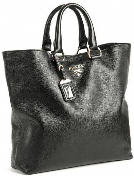 ce96b2f8f7  Prada Vit Daino Life Leather Shopping Tote Black - Lyst  Pradahandbags