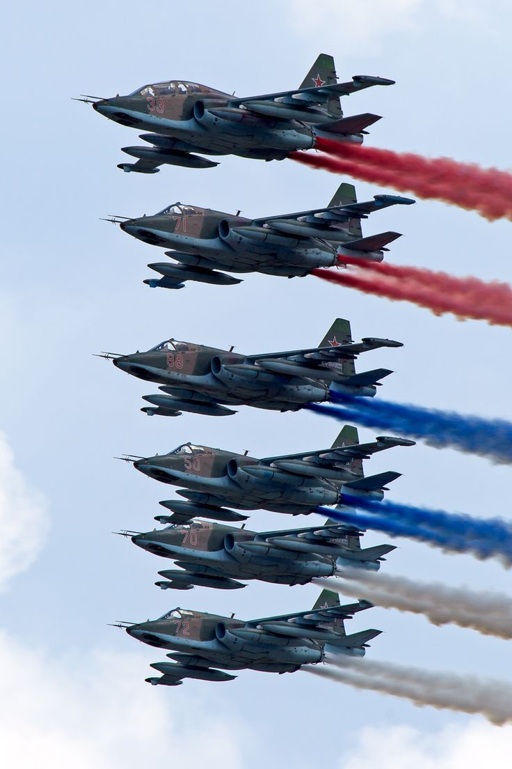 """Russian Su-25 Frogfoot's celebrating the Russian Air Force's birthday. """""""