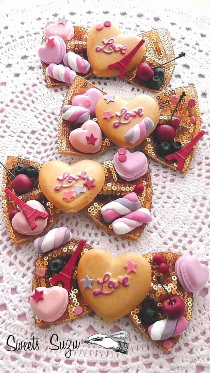 ☆Sweets Suzu☆ Decoden hair bows polymer clay macaron cherries cherry cookies biscuits marshmallows