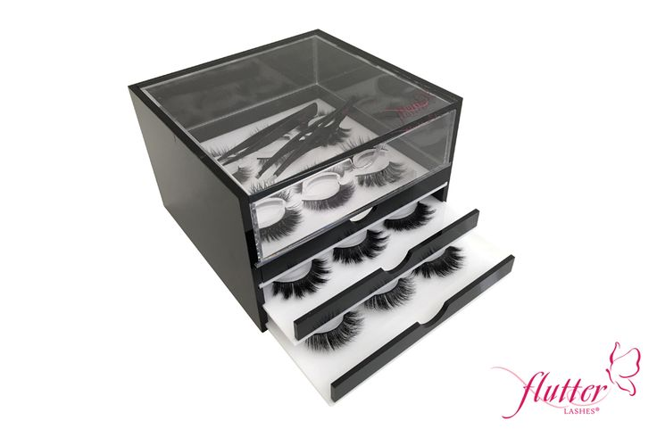 Lash Box by Flutter Lashes  Keep your favorite lashes and accessories organized and clean with our exclusive 18 lash holder and a top draw to hold all your accessoires
