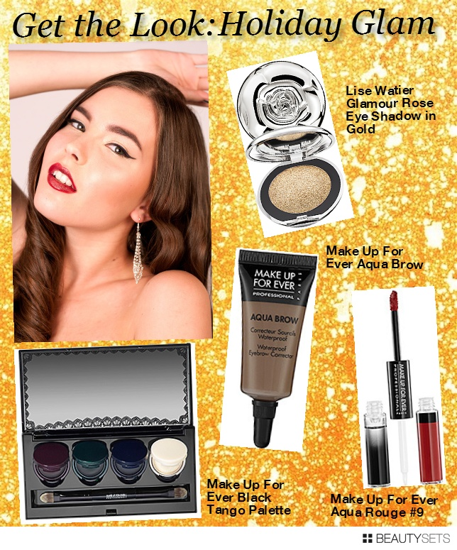 Glitter, sparkle, and shimmer is in full force now that the holidays are just around the corner! Don't be afraid to add a little bling to your look as you head out to your many holiday parties.  The look I created is classic Old Hollywood with a slight twist. It's all about glowing skin, bold brows, winged liner and bold luscious lips. Take this iconic look and play around with different colours.