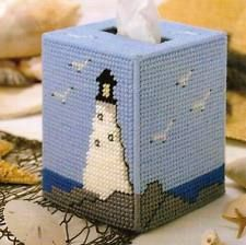 GUIDING LIGHT TISSUE BOX COVER PLASTIC CANVAS PATTERN INSTRUCTIONS