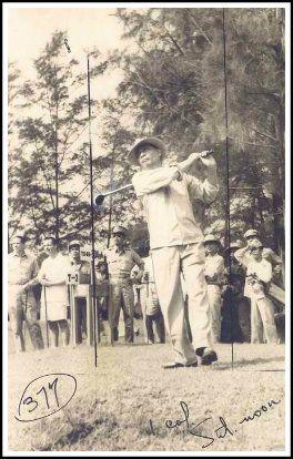 Manuel Roxas playing golf atMalacañang park.