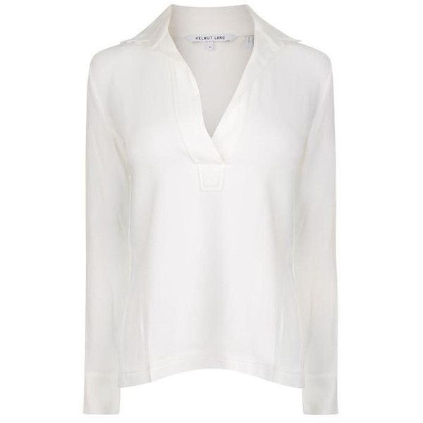 Helmut Lang Open Neck Blouse ($66) ❤ liked on Polyvore featuring tops, blouses, white, white long sleeve top, long sleeve chiffon blouse, cowl neck blouse, helmut lang blouse and white chiffon blouse