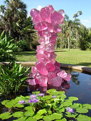"""DALE CHIHULY  PINK CRYSTAL TOWER, 2005  106 X 67 X 57""""  """"CHIHULY AT FAIRCHILD""""  DECEMBER 3, 2005 – MAY 31, 2006  FAIRCHILD TROPICAL BOTANIC GARDEN  CORAL GABLES, FLORIDA"""