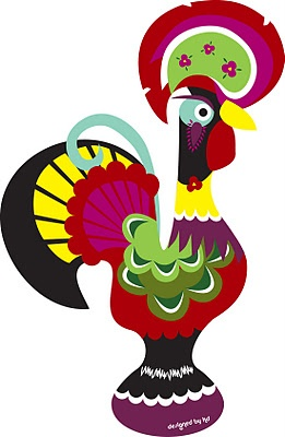 Barcelos portuguese rooster transformed