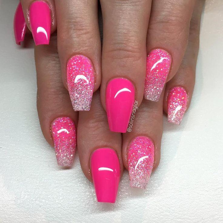 """25 +> """"Neon Pink"""" mit glitzernder Spitze in Neon Pink und Diamant – Nägel"""