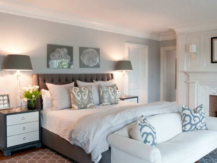 Coastal Bedroom With Upholstered Headboard I Love That This Room Is Bright