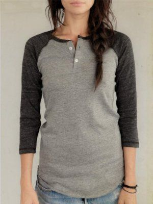 Alternative Apparel Women's 3/4-Sleeve Raglan Henley : Women