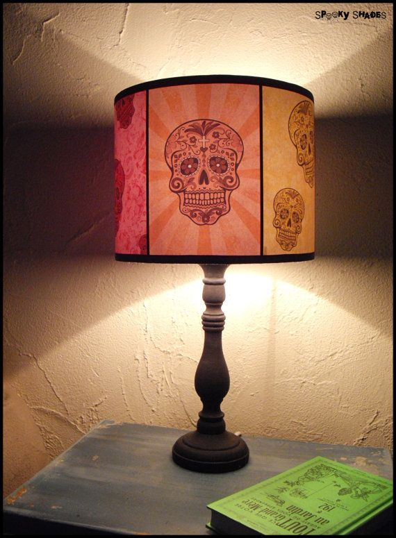 Rainbow Sugar Skulls Lamp Shade Lampshade Spooky Shades Skull Lamp Shade Sugar Skull Decor Calavera Day Of The Dead Mexican Decor Boho