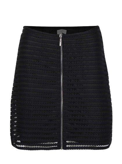Černá krajkovaná sukně na zip Apricot