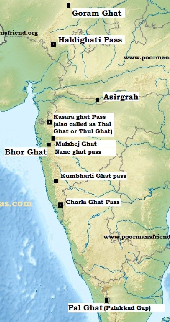 Major Passes in India - Western Ghats | gk | India map, Geography ...