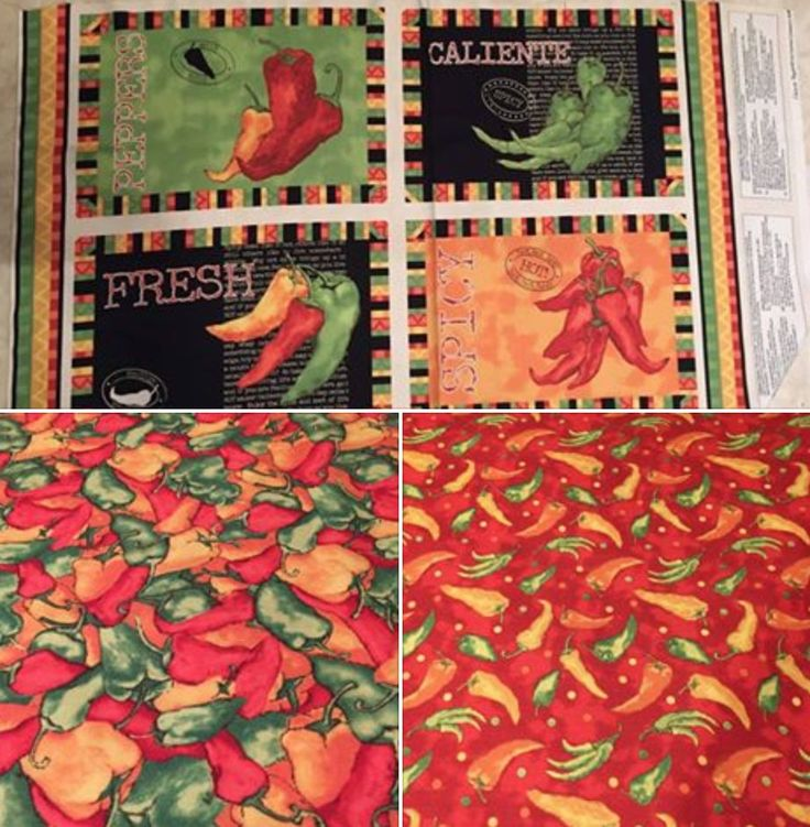 Placemat KIT - Caliente Peppers 100% cotton fabric placemat kit - panel & 2 coordinating fabrics - Wilmington Prints - makes 4 placemats by pmscrafts on Etsy