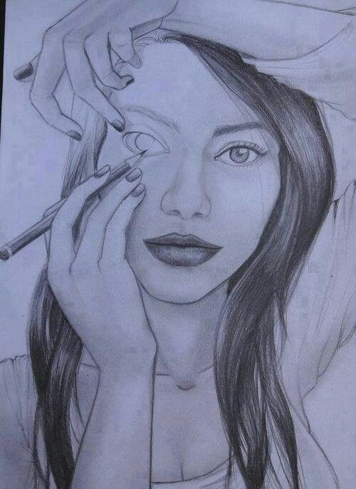 A girl in a drawing- drawing her right eye-FOR a drawing ...