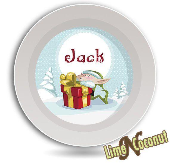 Christmas Elf Childrens Dish Set Santa Claus Bowl Holiday Baby Dinnerware Set Personalized Baby Bowl Melamine C Baby Bowls Childrens Dishes Kids Dinnerware