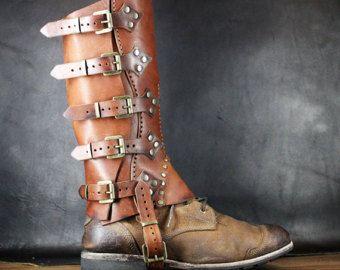 Steampunk Gaiters - Leather Half Chaps - Hiking gaiters - Cowboy Chaps