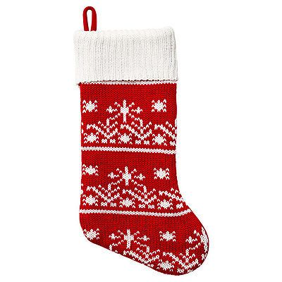 NEW Red and White Knit Christmas Stocking