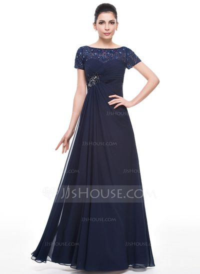 A-Line/Princess Scoop Neck Floor-Length Chiffon Lace Mother of the Bride Dress With Ruffle Beading Sequins (008058422)