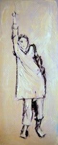 """""""Hang pose"""", Mixed medium on Photographic paper, W: 140mm x H: 360mm, W: 6"""" x H: 14"""", Framed"""
