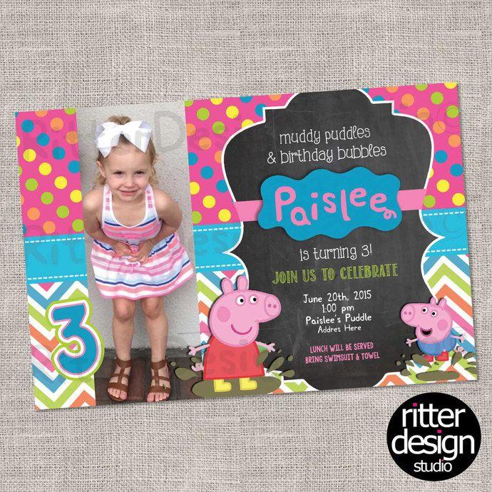 Peppa Pig Birthday Invitation- Printable Digital file